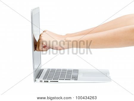 Woman Fist Hit To The Monitor Of The Laptop On White Table