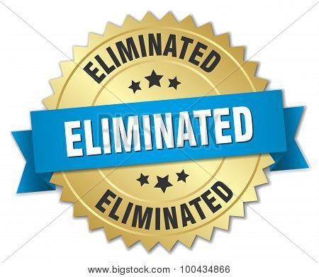 Eliminated 3D Gold Badge With Blue Ribbon