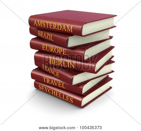 Stack of Travel books (clipping path included)