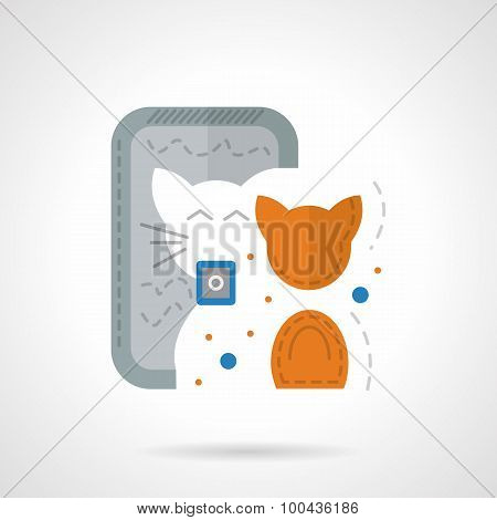 Fancy cat flat color vector icon