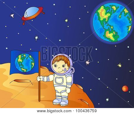 Astronaut With Earth Flag On The Moon Surface In Space