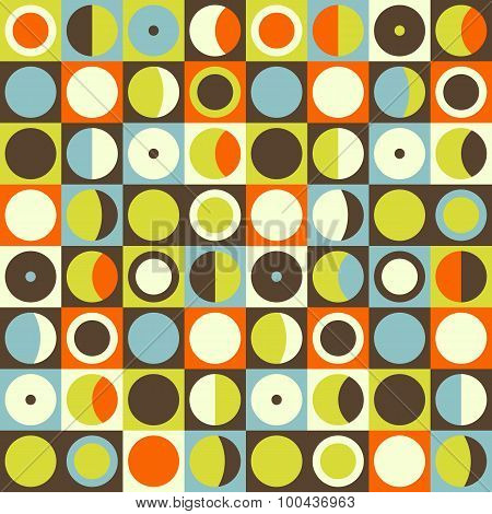 Geometric Abstract Seamless Pattern. Retro 60S Style And Colors. Squares, Circles Composition