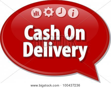 Speech bubble dialog illustration of business term saying Cash On Delivery