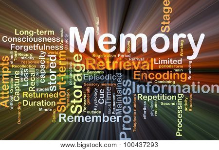 Background concept wordcloud illustration of memory glowing light