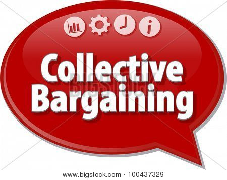 Speech bubble dialog illustration of business term saying Collective Bargaining