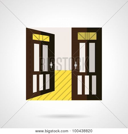 Flat brown open door vector icon