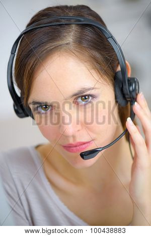 Female telephone sales worker