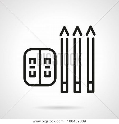 Simple line pencils and sharpener vector icon