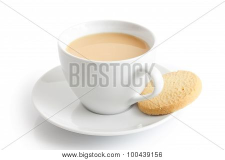 White Ceramic Cup And Saucer With Tea And Shortbread Biscuit. Isolated.