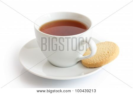 White Ceramic Cup And Saucer With Rooibos Tea And Shortbread Biscuit. Isolated.