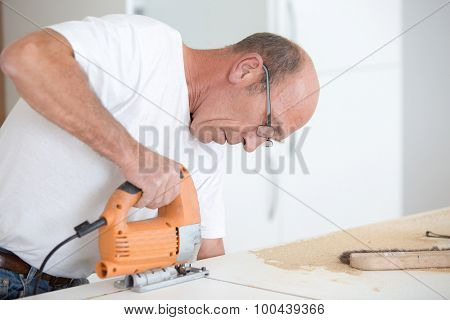 Carpenter working on a project