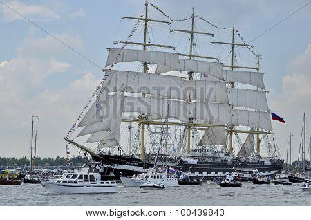 The Kruzenshtern Tall Ship On The Ij River