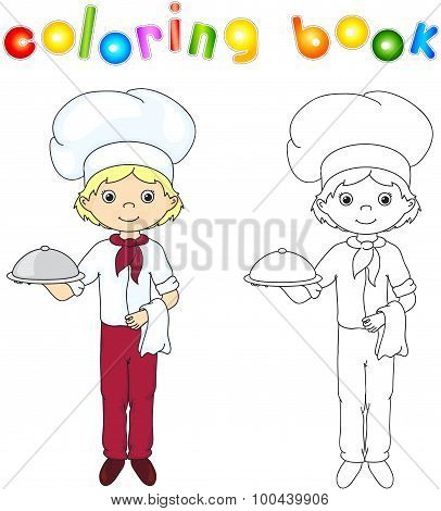 Cook Or Waiter In His Uniform With Closed Dish. Coloring Book. Game For Children