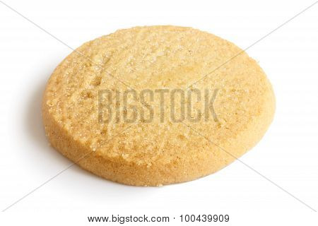 Single Round Shortbread Biscuit Isolated On White.