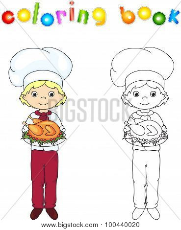 Cook Or Waiter In His Uniform And Toques With Roasted Chicken On A Platter. Coloring Book. Game For