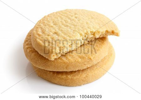 Three Round Shortbread Biscuits Isolated On White. Half Biscuit.