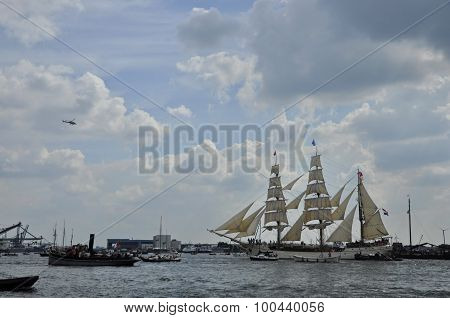 The Europa Tall Ship On The Ij River