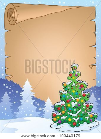 Parchment with Christmas tree topic 4 - eps10 vector illustration.
