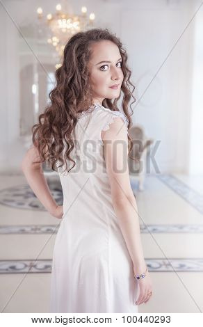 Beautiful Young Woman In Old-fashioned Negligee