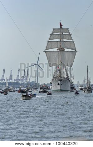 Frontal View Of The Esmeralda Tall Ship On The Ij River