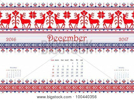 2016 Calendar with ethnic round ornament pattern in white red blue colors