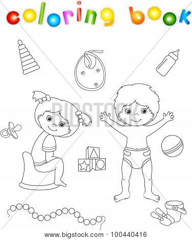 Girl Sitting On The Chamber Pot And Boy Standing In Diaper. Toys For Children. Coloring Book