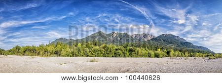 Banks River Isar And Karwendel Mountains