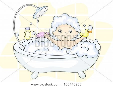 ?ute Toddler Bathing In The Bath With Foam And Yellow Duck. Cleansers And Baby Shampoo Stand In The