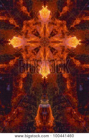 kaleidoscope cross: glowing coals