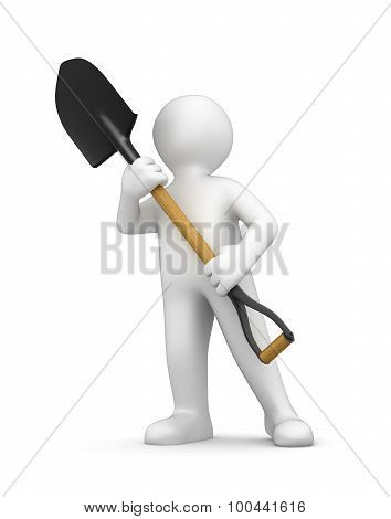 Man and Shovel (clipping path included)