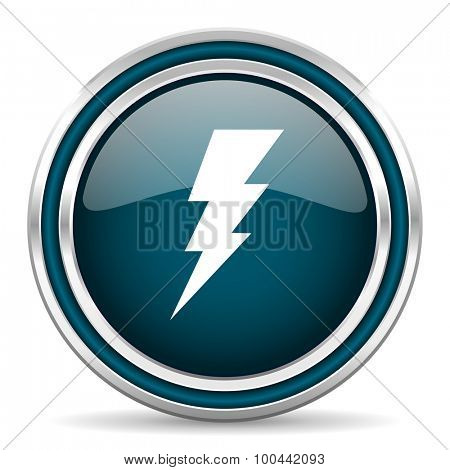 bolt blue glossy web icon with double chrome border on white background with shadow