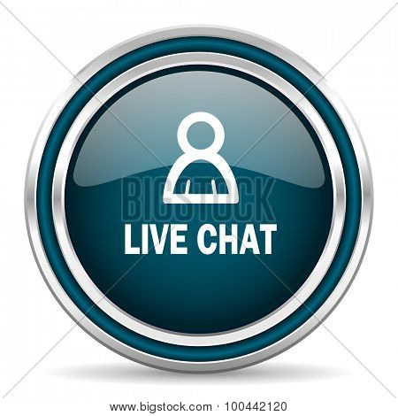 live chat blue glossy web icon with double chrome border on white background with shadow