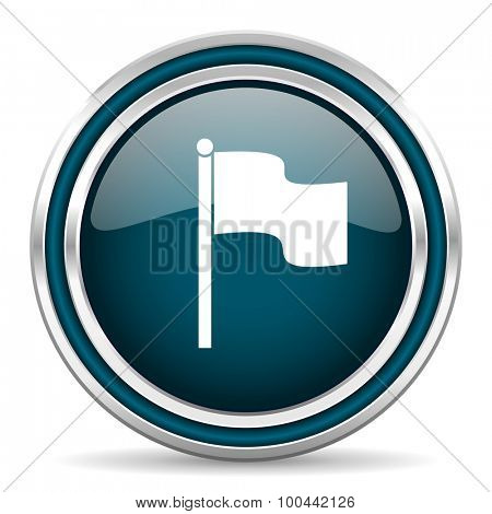 flag blue glossy web icon with double chrome border on white background with shadow