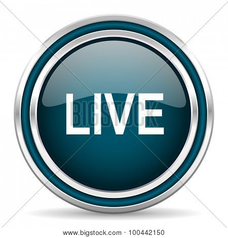 live blue glossy web icon with double chrome border on white background with shadow