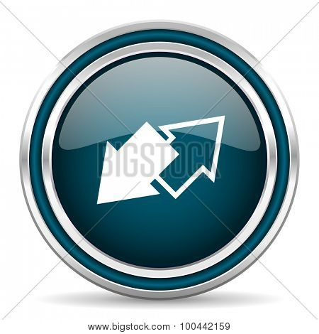 exchange blue glossy web icon with double chrome border on white background with shadow