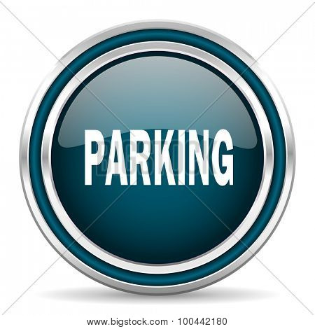 parking blue glossy web icon with double chrome border on white background with shadow