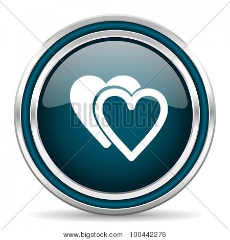 love blue glossy web icon with double chrome border on white background with shadow