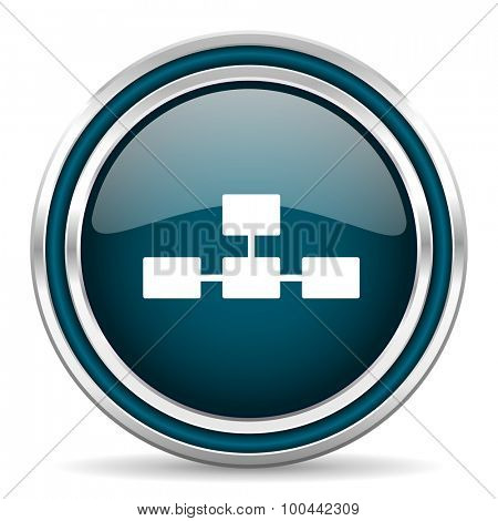 database blue glossy web icon with double chrome border on white background with shadow