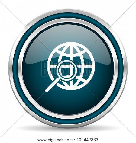 search blue glossy web icon  with double chrome border on white background with shadow