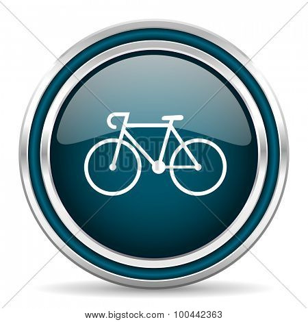 bicycle blue glossy web icon with double chrome border on white background with shadow