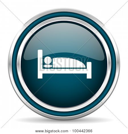 hotel blue glossy web icon with double chrome border on white background with shadow