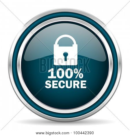 secure blue glossy web icon with double chrome border on white background with shadow