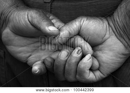 picture of an Old man hands monochrome