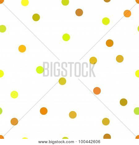 Small Circles In Yellow And Orange Colors On The White Background. Cute Polka Dot. Seamless Pattern.