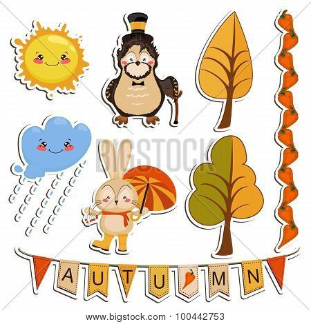 Vector set of cartoon drawings, funny animals, autumn forest