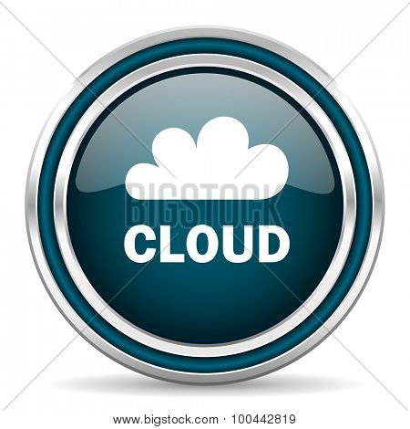 cloud blue glossy web icon with double chrome border on white background with shadow