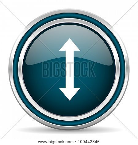 arrow blue glossy web icon with double chrome border on white background with shadow