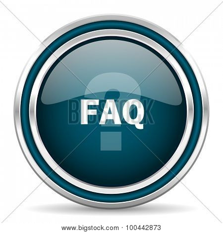 faq blue glossy web icon with double chrome border on white background with shadow