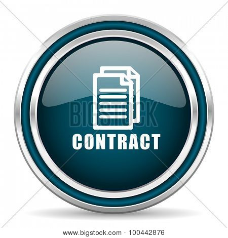 contract blue glossy web icon with double chrome border on white background with shadow