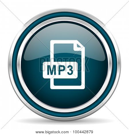 mp3 file blue glossy web icon  with double chrome border on white background with shadow